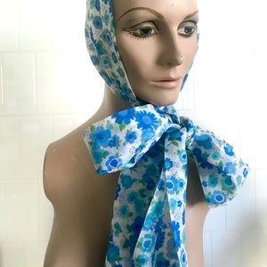 Vintage 1960's blue floral fabric scarf headband